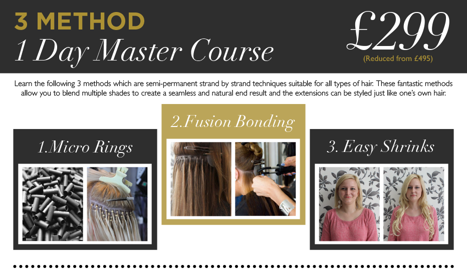 Latests London hair extension course dates please click
